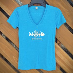 Fishbone womens vneck blue