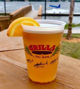 ice cold draft beer shock top florida orange wheat waterfront view